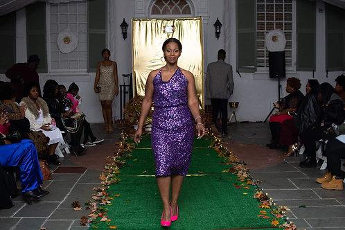 Purple vintage sequin halter 2pc skirt set