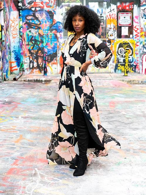 Black blush big floral long sleeve maxi dress sz S