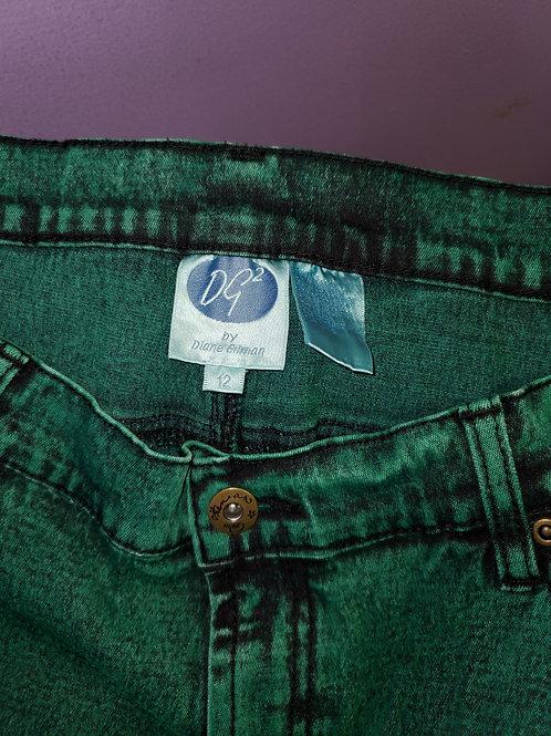 Green acid wash skinny jeans by Diane Gilman sz 12