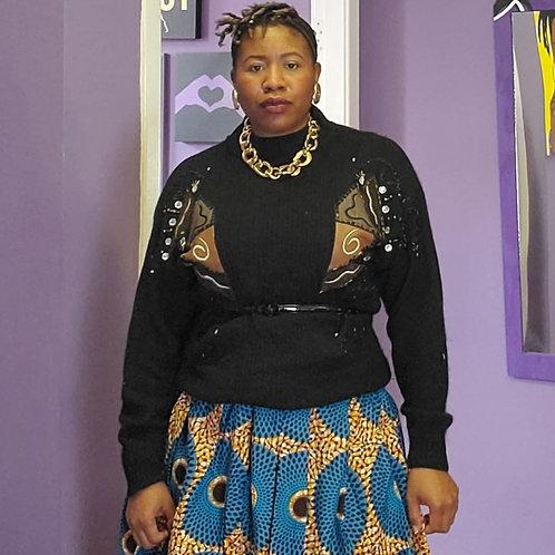 Vintage black embellished turtleneck sweater sz L