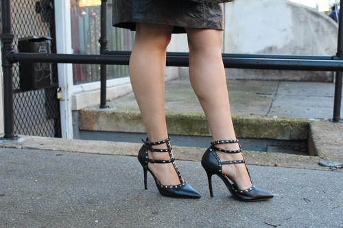 105ee0c1a4 Black leather studded strapped heels