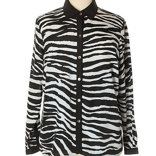 JONES NEW YORK Zebra print sheer button up top sz 16