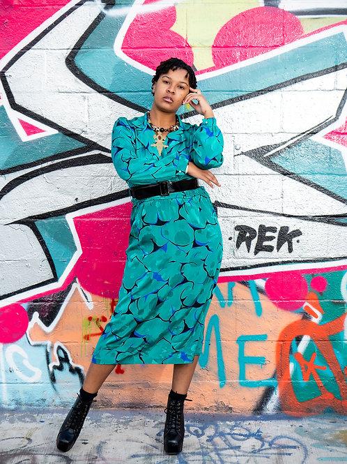Teal vintage floral long sleeve maxi dress sz L