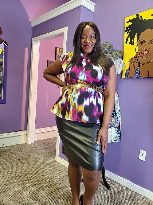 Soft leather stretch skirt sz 18