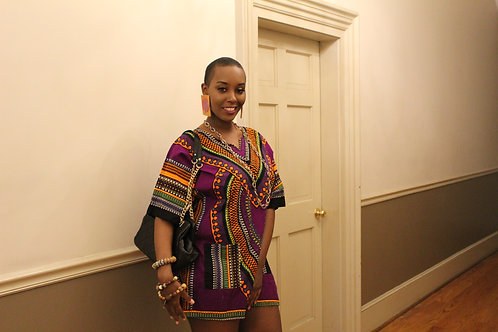 Purple Dashiki top/dress with pockets sz L