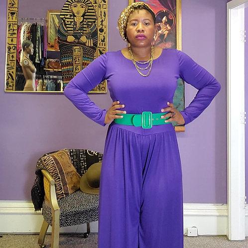 Vintage purple long sleeve wide leg  jumpsuut