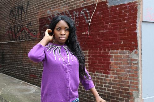 Purple embellished collar 3/4 sleeve cardigan sz S
