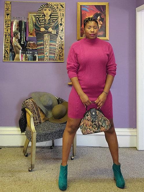 Vintage pink mini cable knit sweater dress sz L