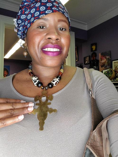Ghanaian brass Agadez cross necklace