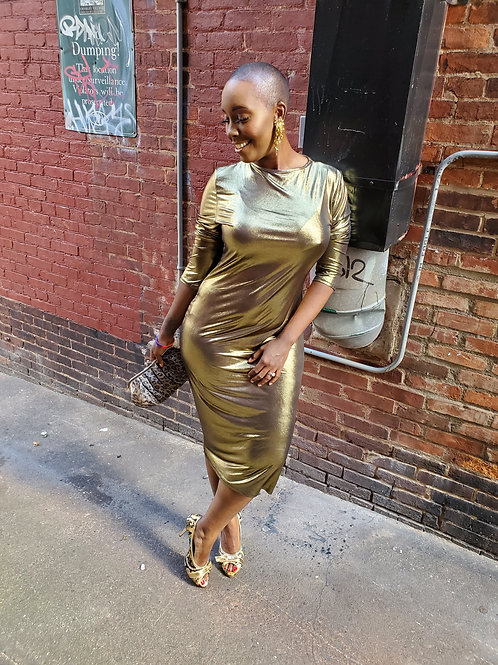 Gold metallic dress sz L