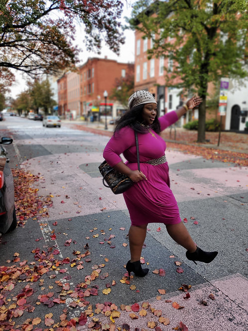 Magenta hot pink long sleeve stretch knit maxi dress sz XL