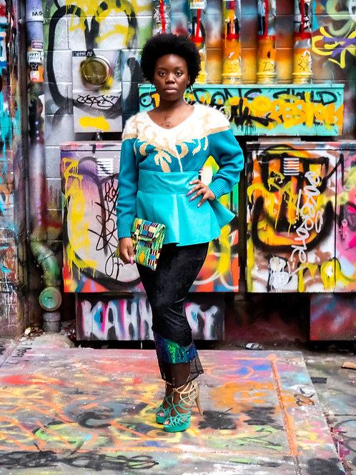Vintage Teal embellished v cut sweater sz M