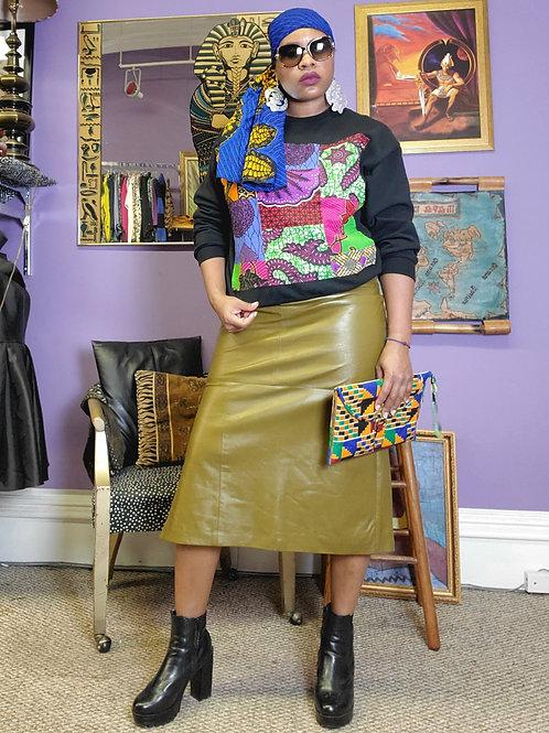 Vintage pea green leather midi lined skirt sz 14
