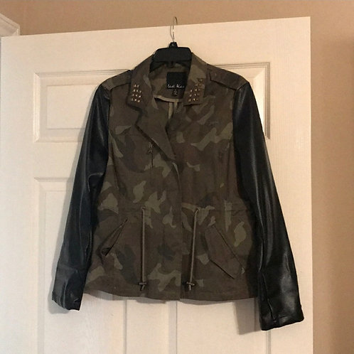 LAST KISS faux leather sleeve camo jacket sx XL