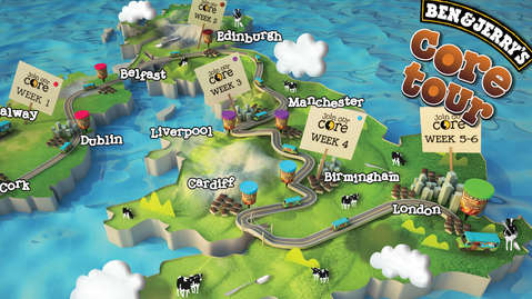 BEN & JERRYS - MAP ILLUSTRATION