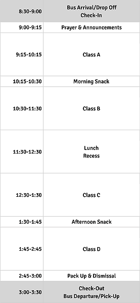 Camp SFS 2020 Elementary Daily Schedule