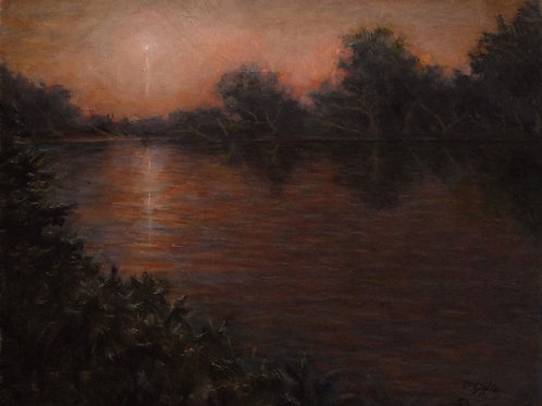 "MOODY MOONLIGHT   20""X 16"" Oil on Canvas"