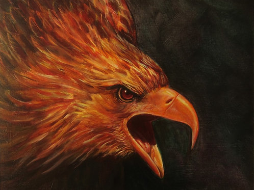 "GOLDEN EAGLE   20""X 16"" Oil on Canvas"