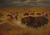 Buffalo Hunt 24X36 Oil on Canvas