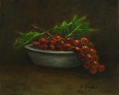 Grapes and Bowl 10 X 8 Oil on Canvas