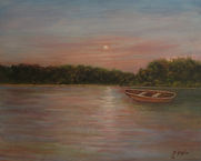 "Moonlight On the Bay 20x16  Oil on Panel ""Rest now and continue tomorrow"""