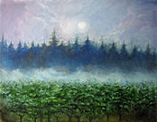 Moonlit Vineyard 20X16 Oil on Canvas