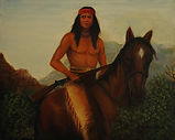 "Apache Warrior 20x16  oil on Canvas ""Apache and his mount, both proud and alert"""
