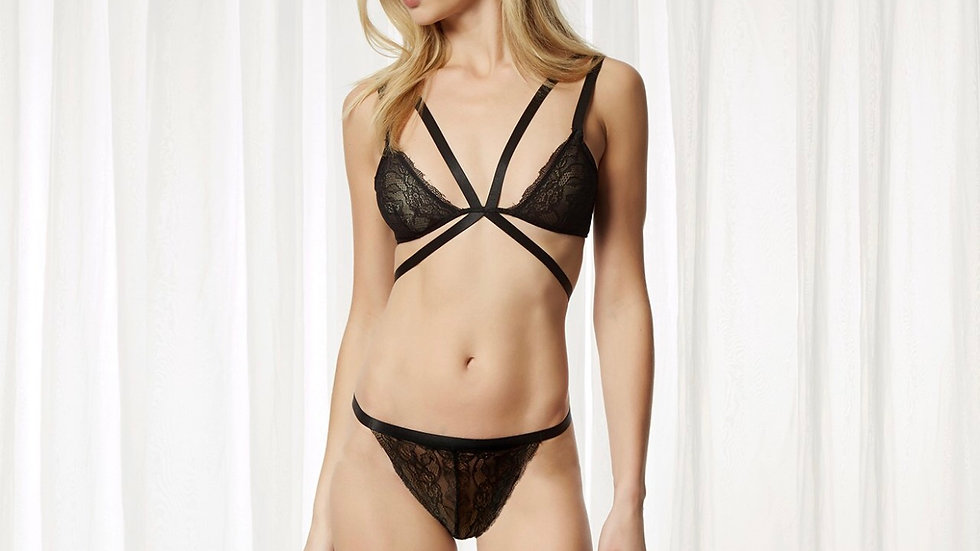 Alexa Bra and Thong Set Black