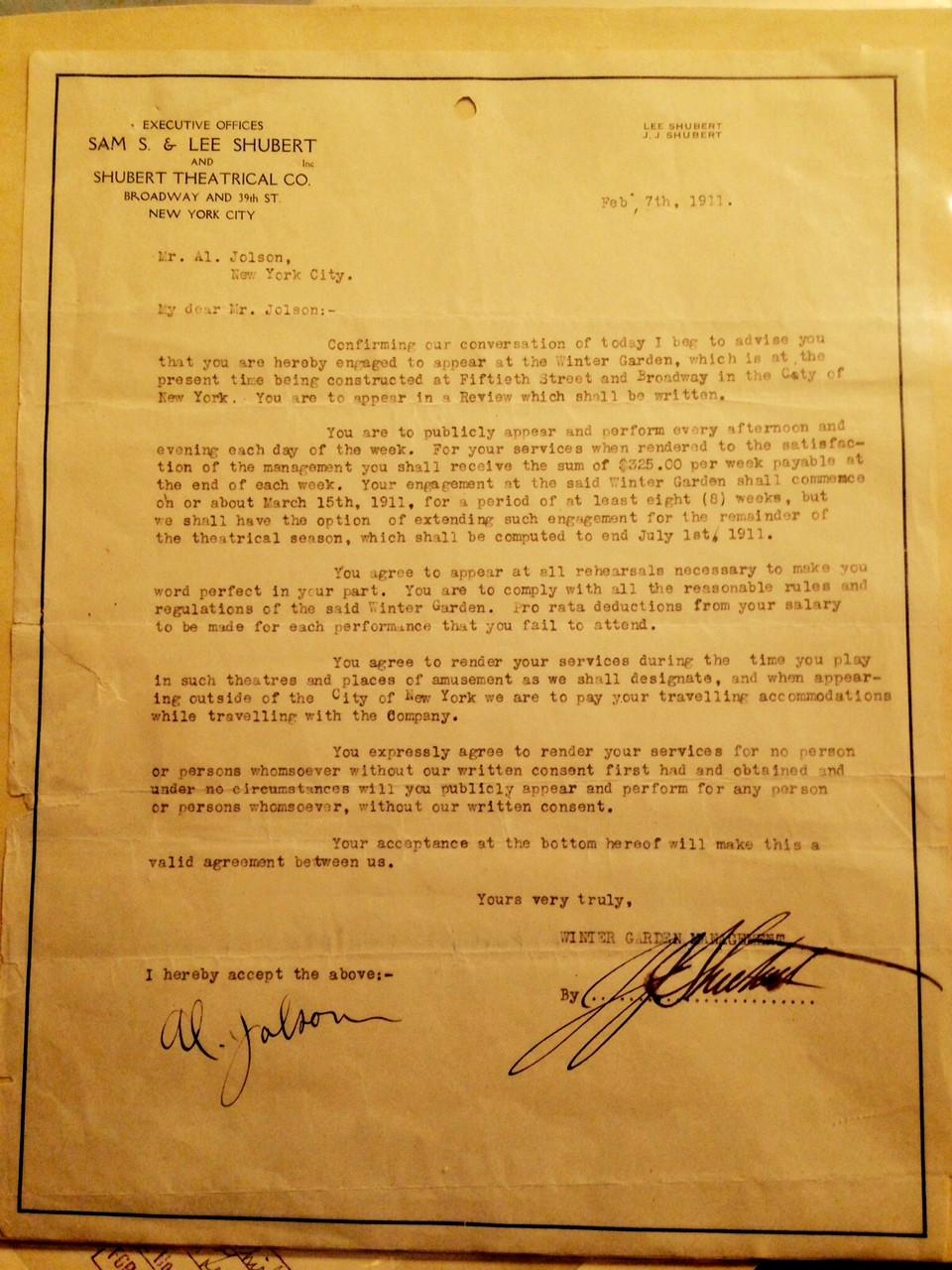 25. Jolson Contract .JPG