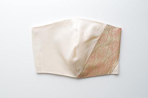 着物&竹布マスク Mサイズ白地花柄ピンク切り替えあり