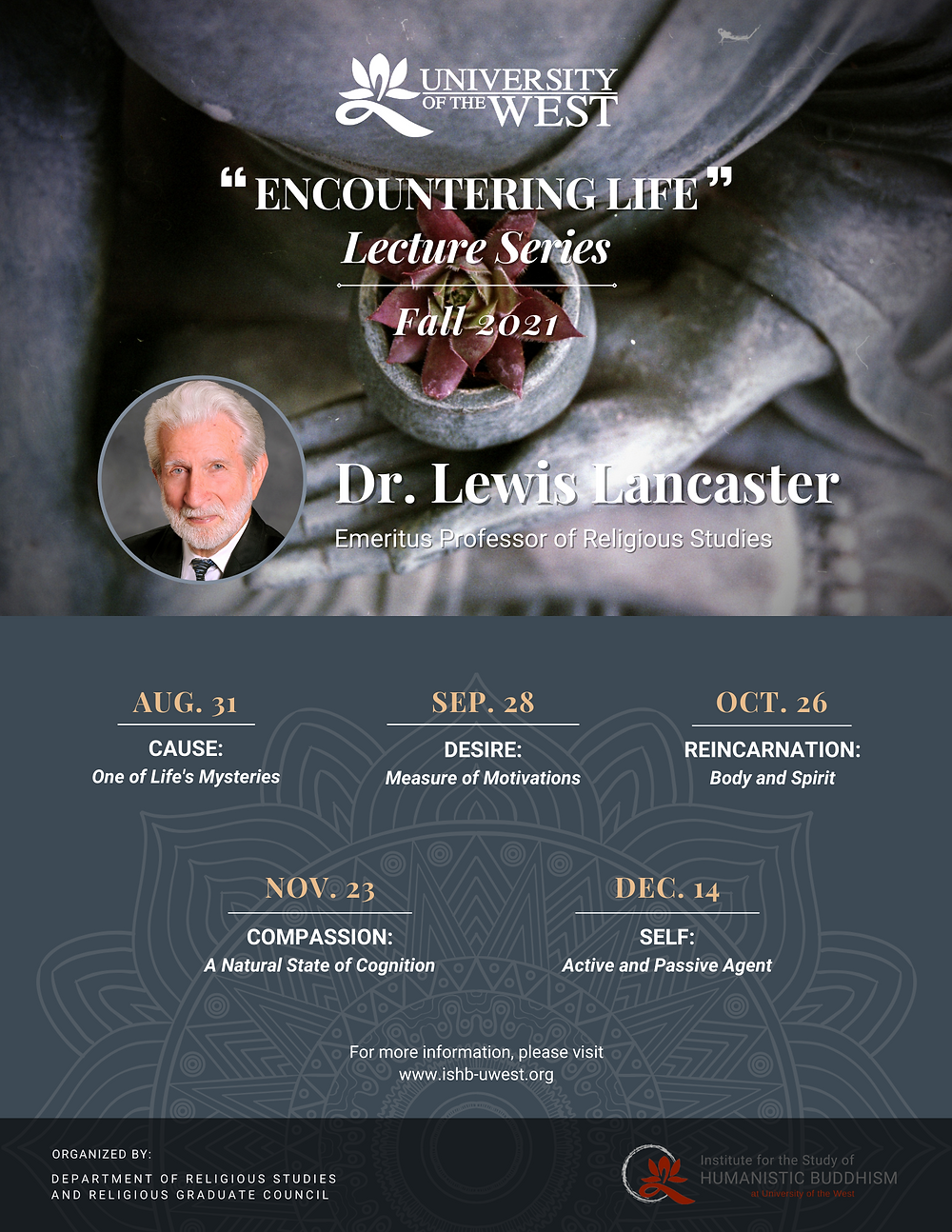 """Dr. Lewis Lancaster """"Encountering Life"""" Lecture Series poster"""