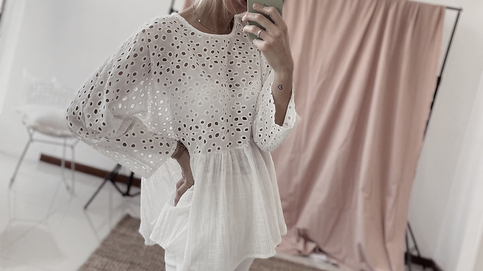 Blusa Charming Broderie / Off White