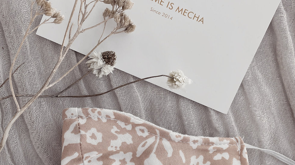 Tapabocas Est. Flowers  / Nude & Off White