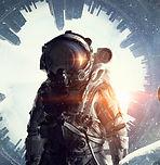 초현실주의 배경을 가진 우주 비행사