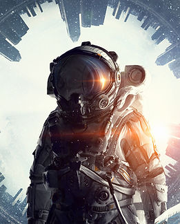 Astronaut with Surreal Background