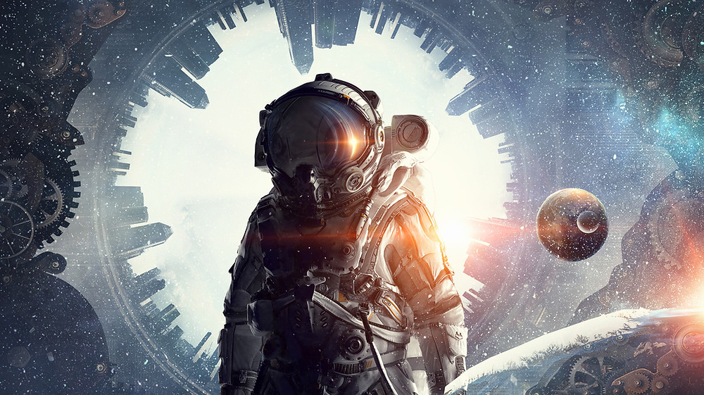 sci-fi scene with a cosmonaut suit, a round city view and planets