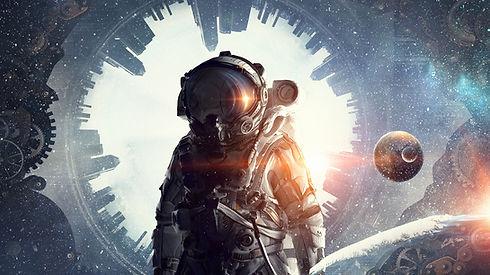 Astronaut mit surrealem Hintergrund