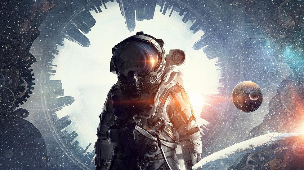 Astronauta com fundo surreal