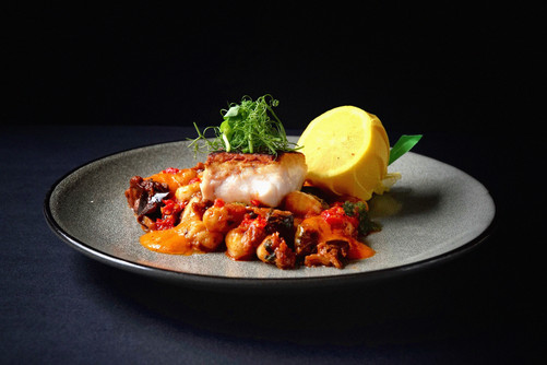 Baked Cod with GF Gnocchi Caponata