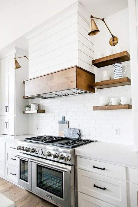 White Shaker & Wood Accent Square Hood-
