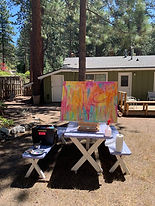 Stillwell painting at cabin.JPG