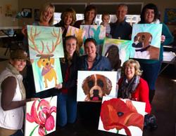 Art class final paintings Lakeside Mansi