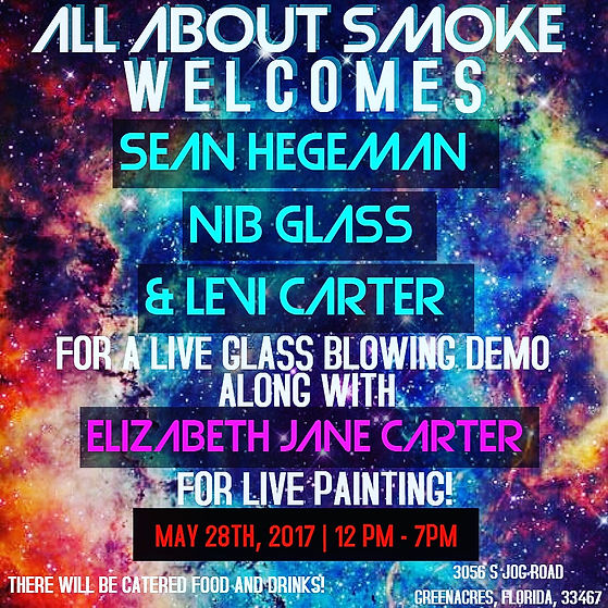 Live glass blowing demo at All About Smoke in Greenacres, Florida! Featuring East Koast Glass, Nib Glass, Levi Carter and Elizabeth Jane Carter