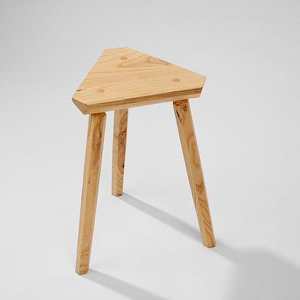 Lightweight handmade wooden crit stool with three legs and triangle seat