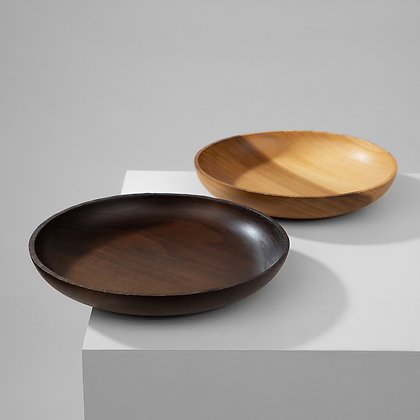 Two handmade minimalist poplar bowls with an untouched raw rims