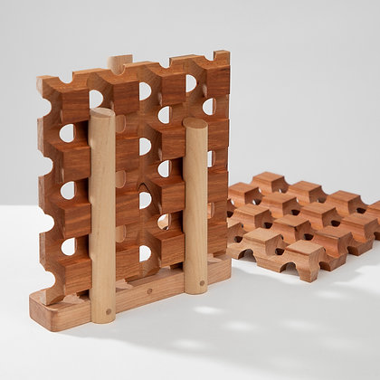 Two walnut wood trivets with a custom wood stand for storage