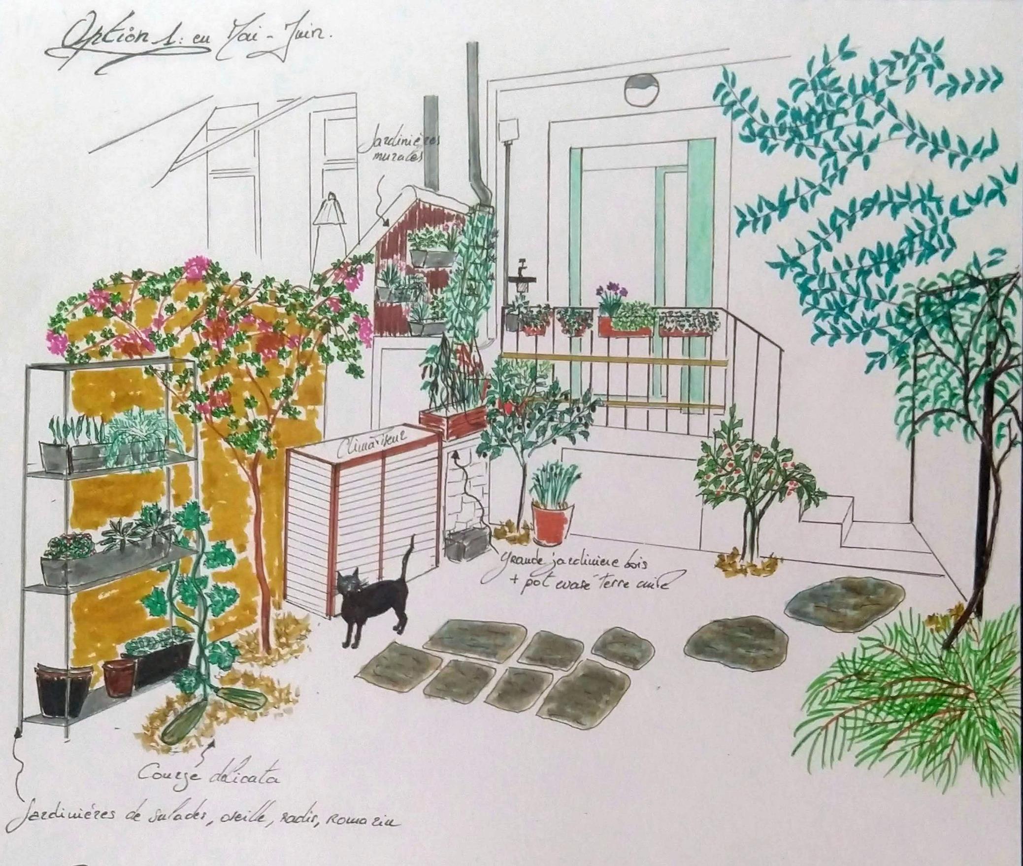 Proposition d'amenagement paysager pour un petit jardin urbain