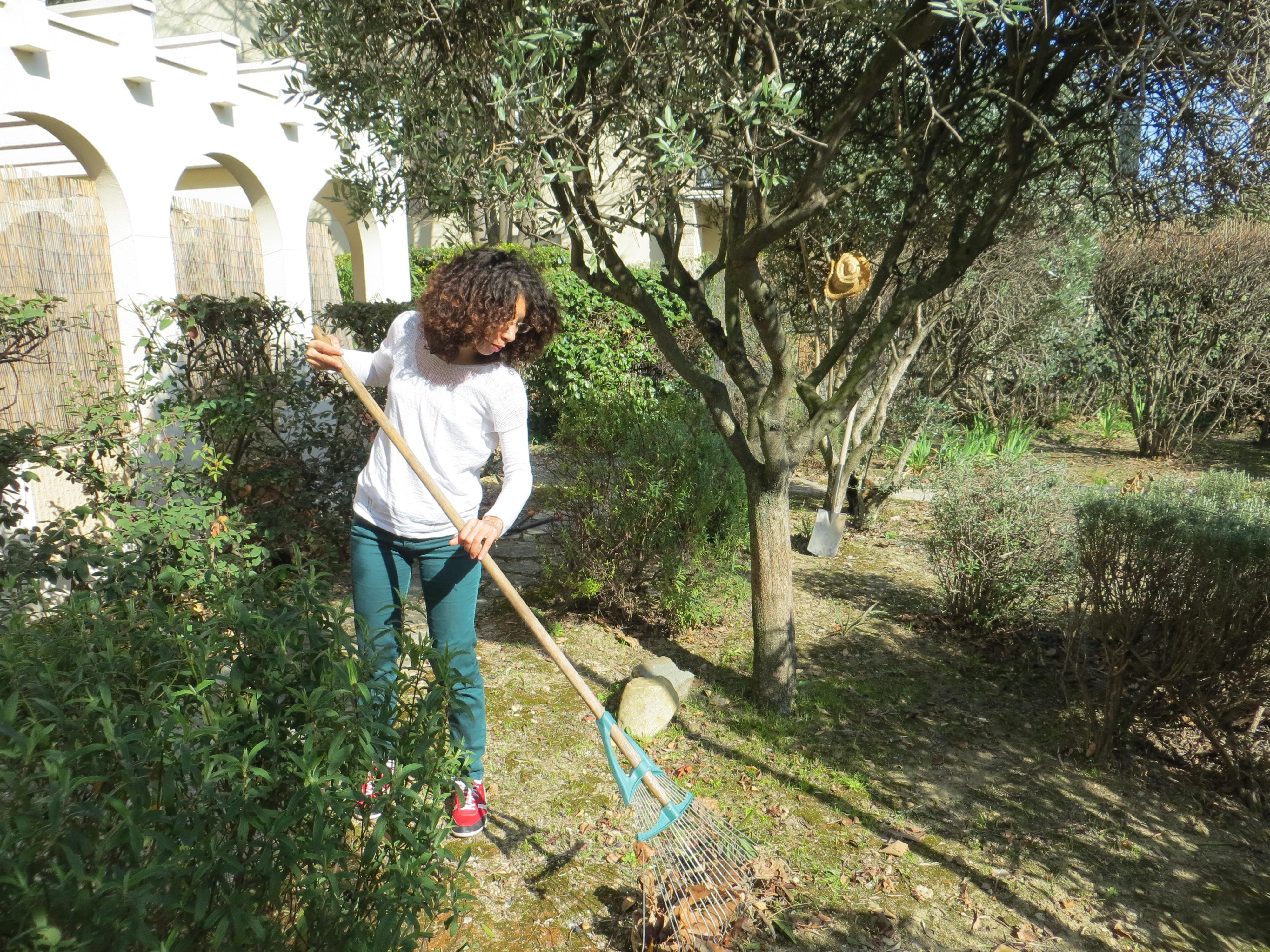 Nettoyage d'un parterre d'arbustes