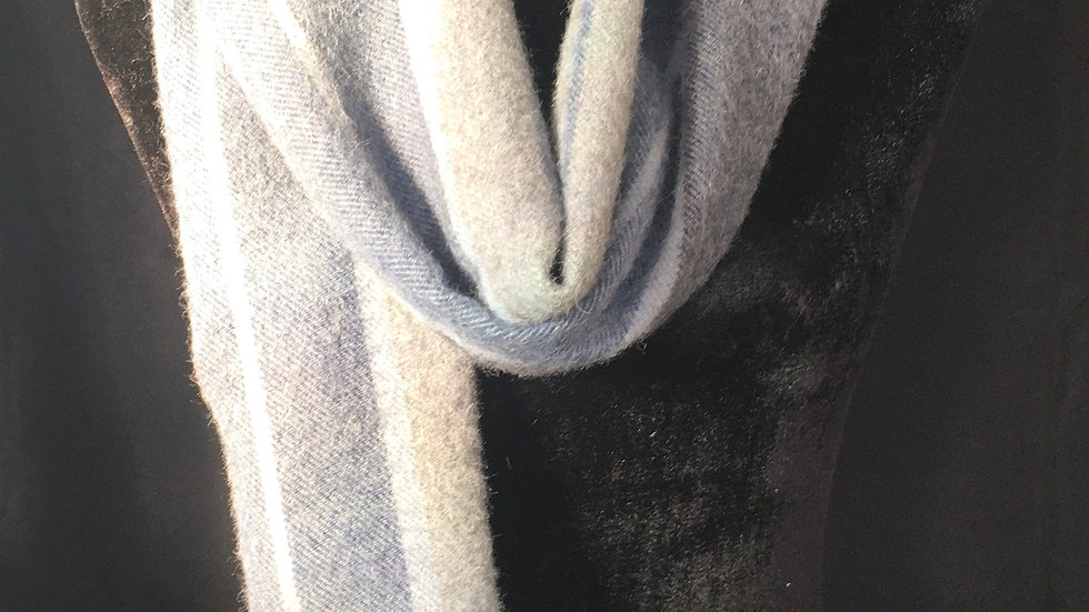 Blue and Grays 100% Baby Alpaca Scarf