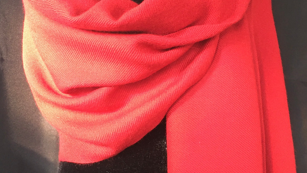 Sultry Red Cashmere and Silk Shawl